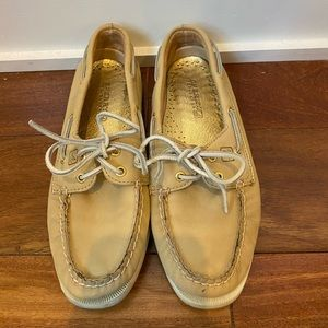 Gold and tan Sperry Top-Siders